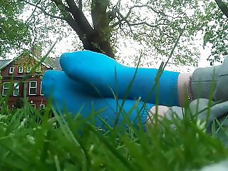 Teasing with my Blue Socks in a Park