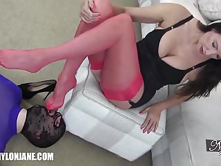 Gimp slave worships MILFs sexy nylon covered feet and legs