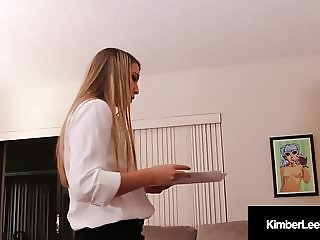 Sweet Young Kimber Lee Swallows Her Boss's Load For a Raise!