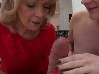Threesome with hot girl and old lady