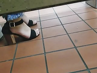 Gas Station Toilet Voyeur XXII (Young Latina In Heels)