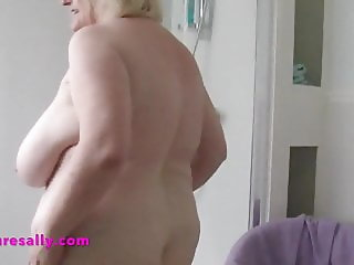 Granny gets her big tits out for shower time