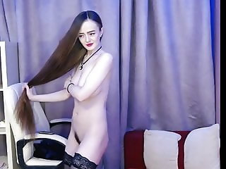 Fantastic Long Haired Bun Drops, Hairplay and Striptease