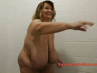 The biggest saggy tits soaking wet