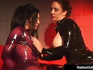 Latex Cats RubberDoll & Jewell Marceau Lesbian StrapOn Fuck!