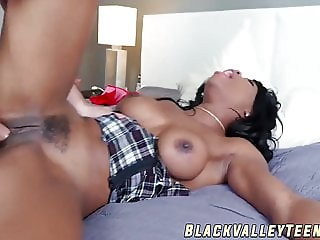Tasty ebony schoolgirl gets fucked and fed with cum