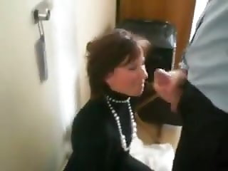 French secretary  with intensive blowjob and swallowing
