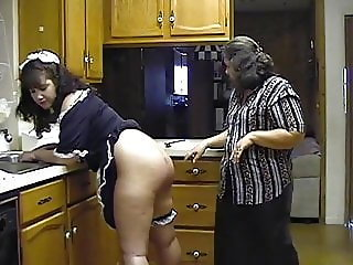 Mature couple spank maid