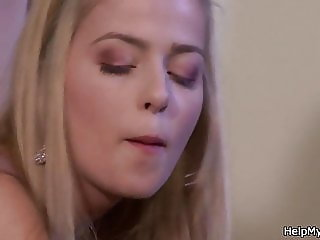 Guy doggy-style fucks young blonde wife