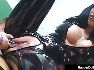 Latex Commander Rubber Doll StrapOn Fucks Slave Cadet!