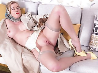 Blonde Milf flashing wanking in sheer nylon retro suspenders