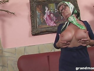 Old but oddly fit granny with great boobs fucked so hard