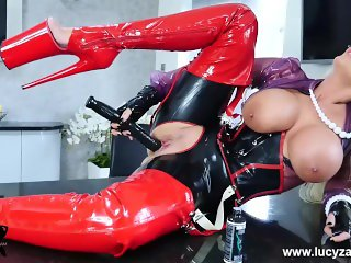 British blonde big tits Lucy Zara fucks huge dildo toy in full latex outfit