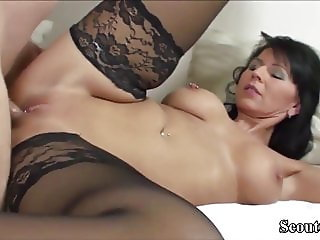 German MILF in Stockings Fuck with Young Teen with Big Dick