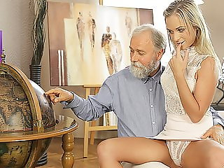 OLD4K. Middle-aged teacher and student have good time at...