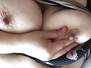 Playing with my hard nipples