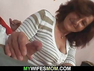 Wife leaves and mother inlaw fucks him