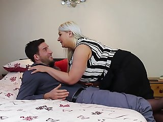 Mom with big natural tits fucks lucky son