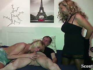 German Mother Caught Step-Sister Fuck and Join in 3some