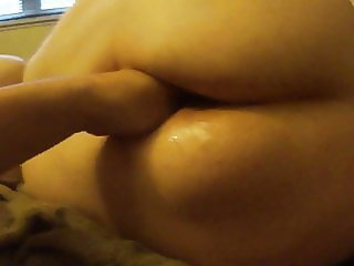 Fisting fat wifes pussy from behind POV on bed