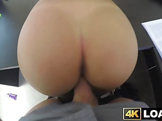 Lovely young babe bent over table for POV doggystyle session