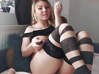 Striped stockings squirt