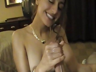 My cute friend stroking my cock making it cum