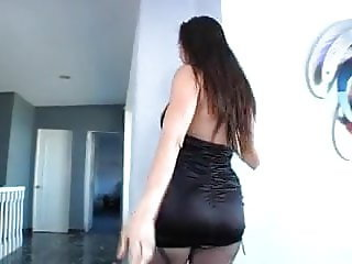 Oiled brunette in pantyhose pegging sissy fag with strapon