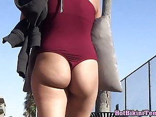 Round Big ass small thong milf beach voyeur bikini spy cam