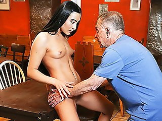DADDY4K. Young girl and boyfriend's daddy embark sensual...