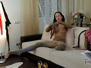 Pantyhose layers for a dirty bitch