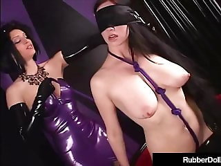 Masked Latex Queen RubberDoll Slaps Succubus Till Pink!