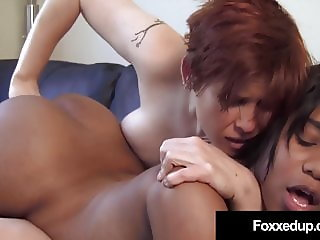Black Tart Jenna Foxx & Lily Cade Make Out On Couch!