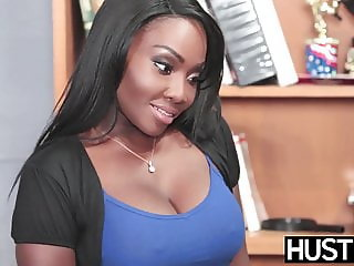 Ebony beauty Oso Lovely pussy pounded by hung employee