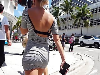 Candid voyeur skin tight dress blonde hottie nice ass