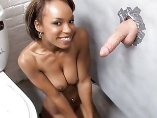 Ebony Aja Cummings Sucks White Gloryhole Cock