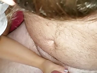 My slut gives a thick man a handjob that makes her good