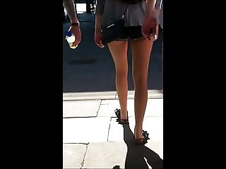 Candid Bare Teen Legs Tight Shorts