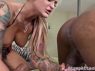 MILF pegging boyfriends black asshole