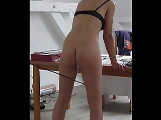 Beautiful Samira has her bare bottom caned (Slow Motion)