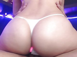 Stroking his cock with panties and then jumps on it