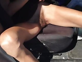 Skinny Wife Lifting Her Dress And Showing Hairy Pussy
