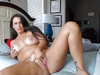 Curvaceous cougar housewife with pink tight twat and huge ti