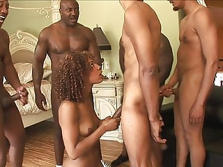 Ebony Hottie's Mouth Gang Fucked By 5 Hungry Black Thugs