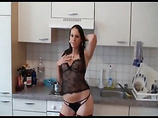 German Brunette In Lingerie Takes Cumshot in Mouth