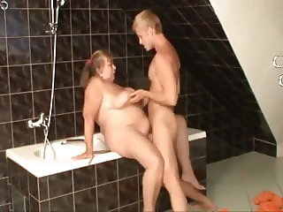 Big tits granny having fun with the lovely guy