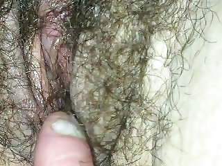 Playing with wifes hairy cunt