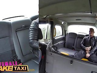 Female Fake Taxi French guy gives throat fucking