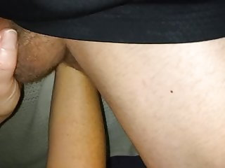 Wife fisting my ass sucking my cock as I stand