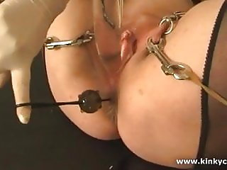 Extreme piercings and fucking machine